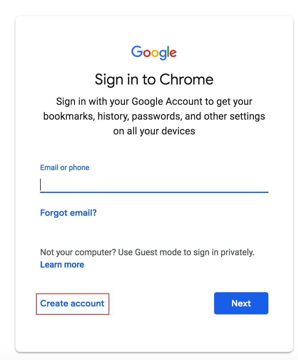 gmail account creation page